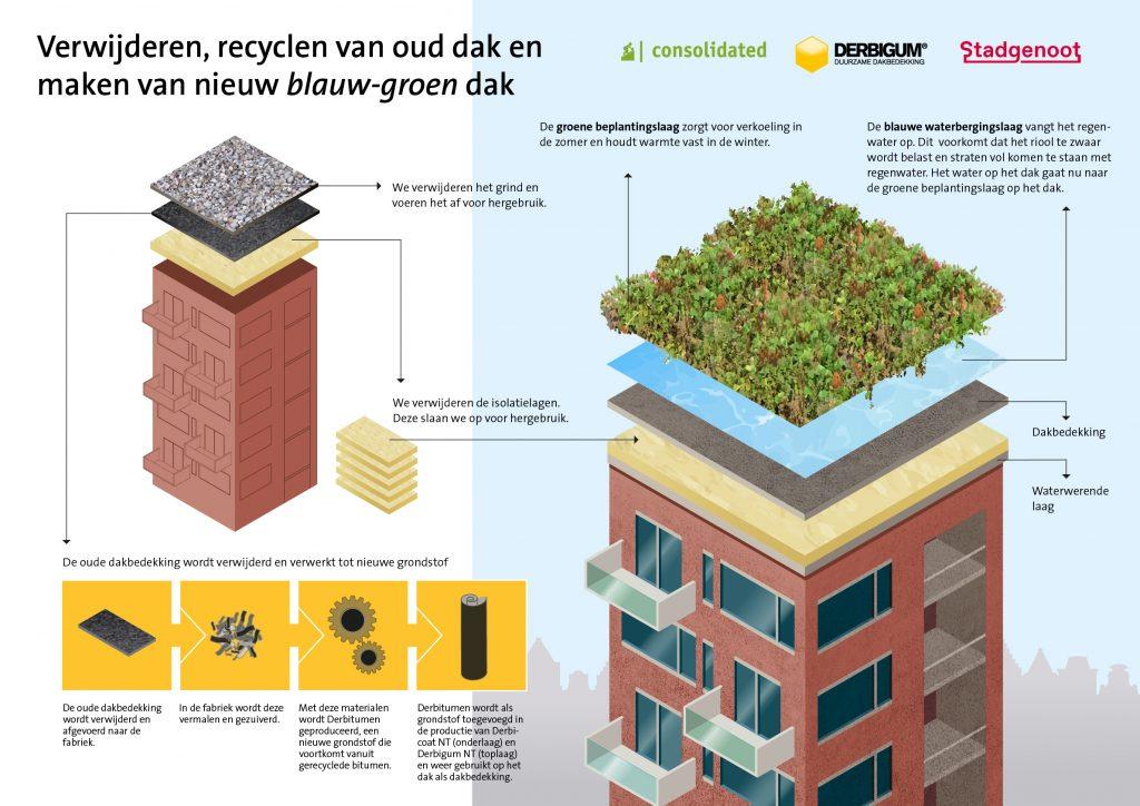 Infographic verwijderen, recyclen van oud dak en maken van nieuw blauw-groen dak